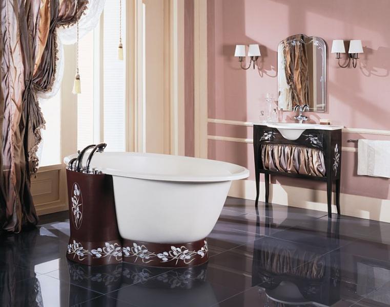 Ванная комната со шторами в стиле модерн