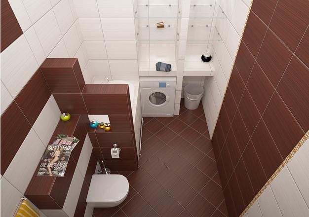 Современная функциональная ванная с гипсокартонными перегородками и полками