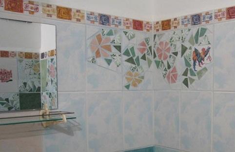 Мозаику делаем из остатков плитки после ремонта