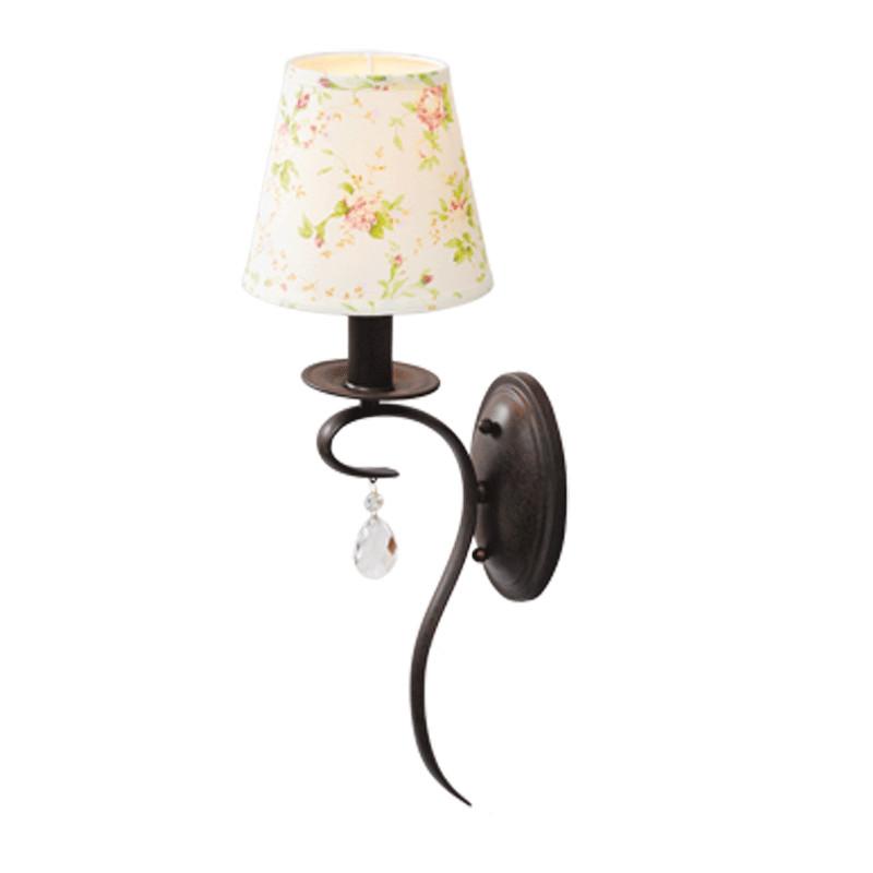 Освещение для ванной прованс - бра с металлическим основанием, декоративным абажуром и подвеской из хрусталя