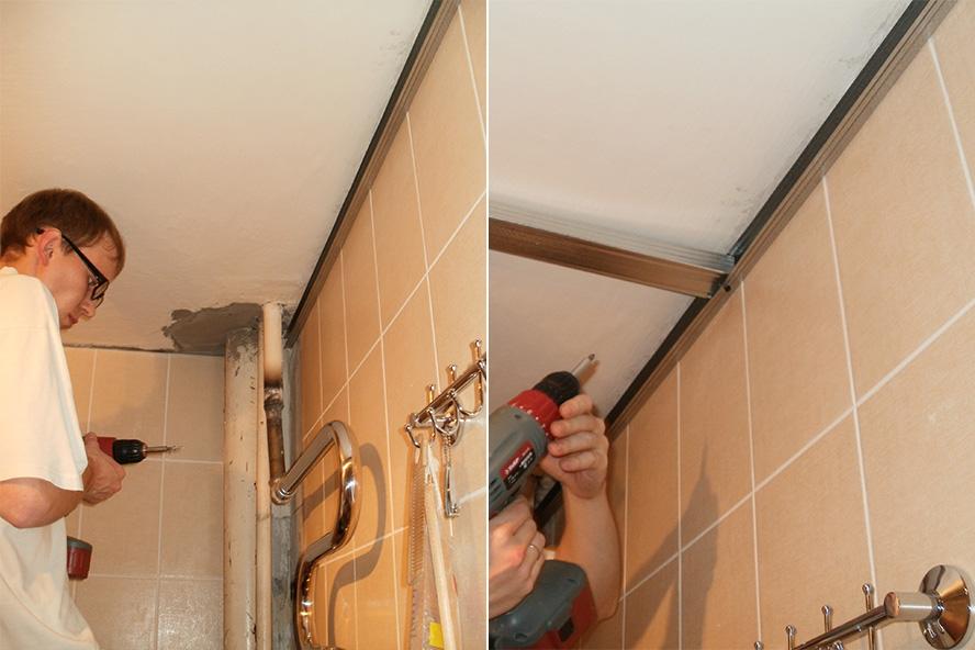 Монтаж металлического профиля для монтажа пластиковых панелей на потолок