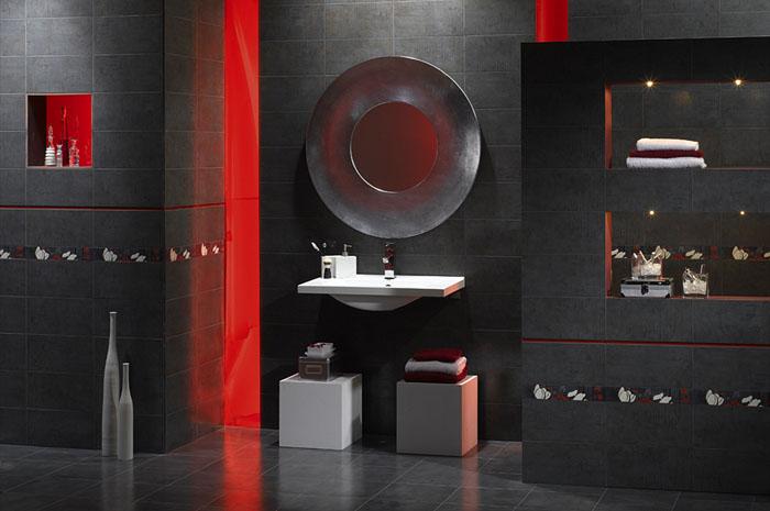 Плитка в ванную: модная и современная тенденция – сочетание черного и красного материала в стиле арт-деко