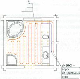 Схема ванной с размещением электрических теплых полов