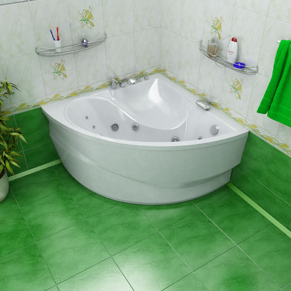 пример акриловой ванны, установленной на кирпичи