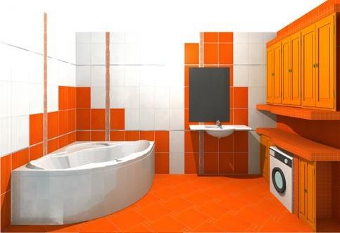 Укладка по диагонали выделяет зону ванны