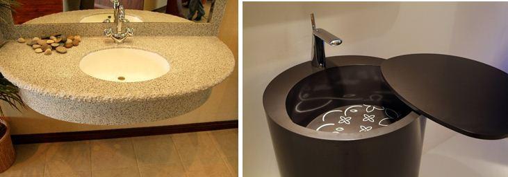 Раковина из искусственного камня станет украшением любой ванной комнаты