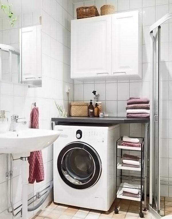 стиральная машинка в маленькой ванной