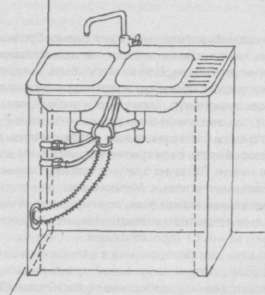 Умывальники для ванной с тумбой соединяются с линиями коммуникаций по указанной схеме