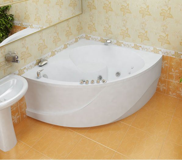 установка угловой ванны акриловой