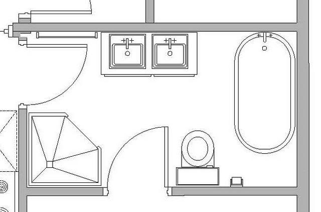 План-схема расположения тумбы с умывальниками и других предметов интерьера