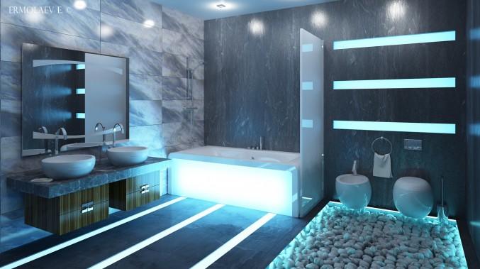Хай-тек в стиле ванной комнаты
