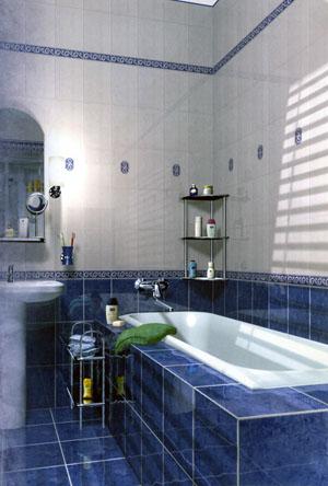 Ванная комната – дизайн: плитка с сочетанием синего и светло-бежевого оттенков