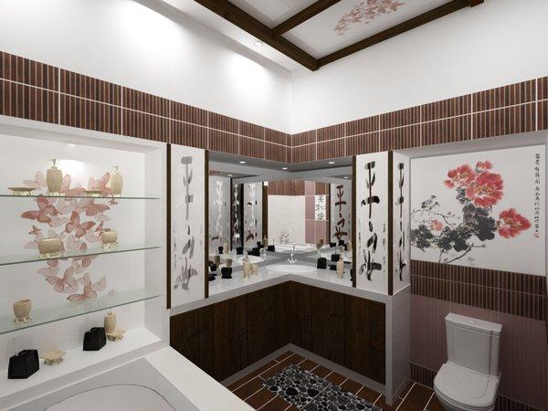 Ванная, выполненная в японском стиле