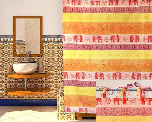 Занавеска в ванной восточного стиля крепится с помощью лент