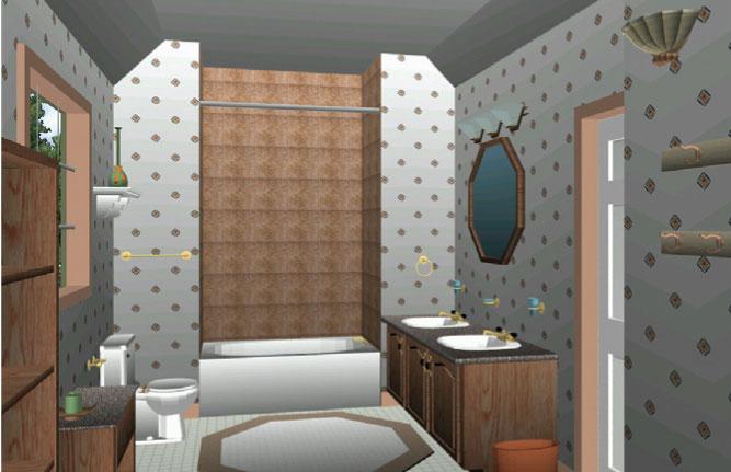 3D Home Architect – это еще и коллекция готовых решений для ванной комнаты с реальными характеристиками для типовых планировок