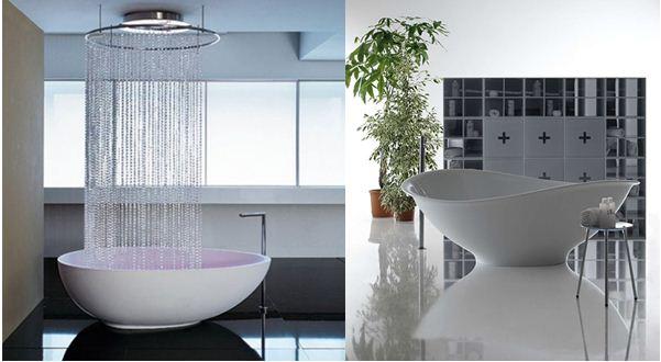 Акриловая ванна в интерьере ванной комнаты