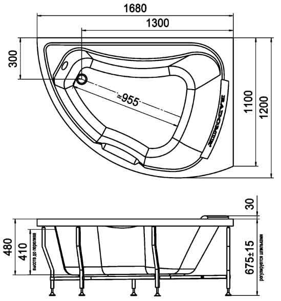 акриловые угловые ванны размеры