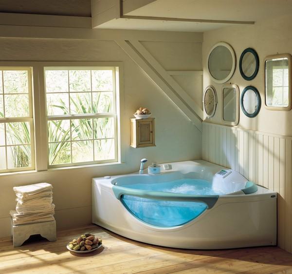 Пример установленной угловой акриловой ванны