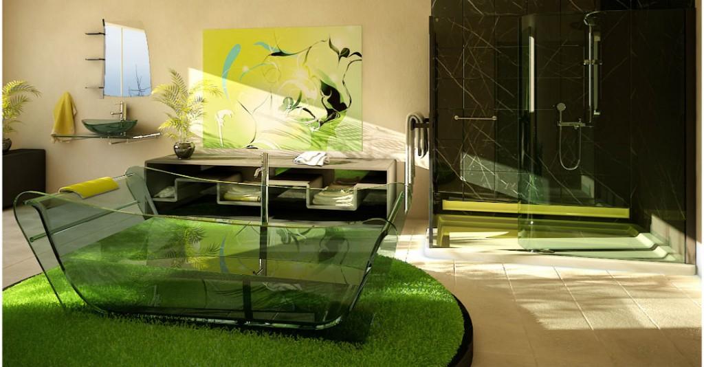 Дизайн ванной комнаты в зеленых тонах