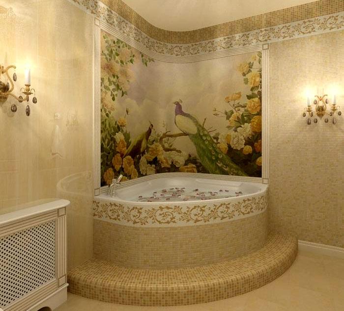 Дизайн ванной комнаты: мозаика в ванной в классическом стиле в виде красочного панно