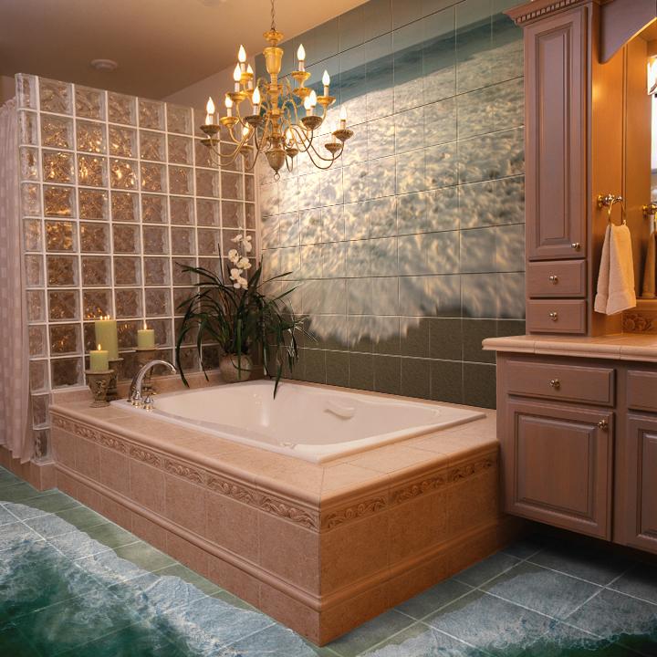 Плитка со вставками для ванной с джакузи – незабываемый дизайн