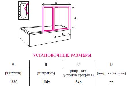 Установочные размеры для дверц
