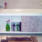 экран под ванну с полочками