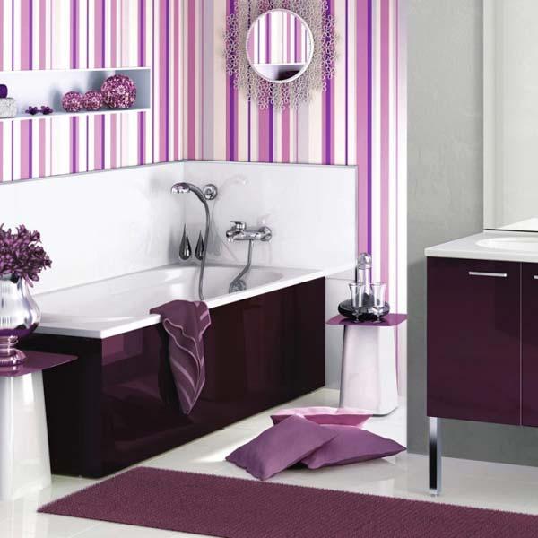Лиловая ванная – контраст цветов