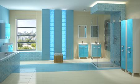 Голубая мебель в ванной комнате