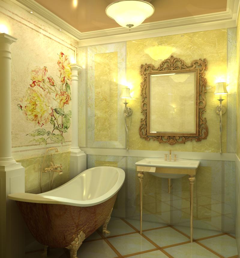 образец классического стиля в ванной комнате