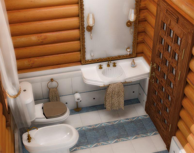 Деревянный интерьер в ванной честного дома