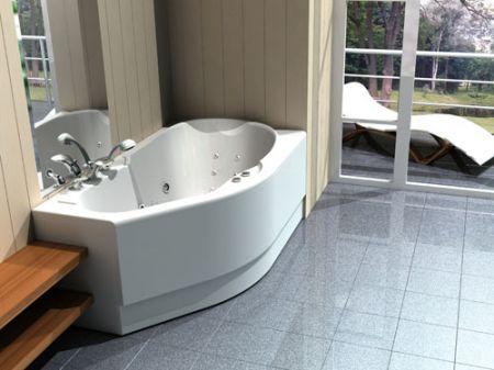 Установка ассиметричной ванны в углу комнаты