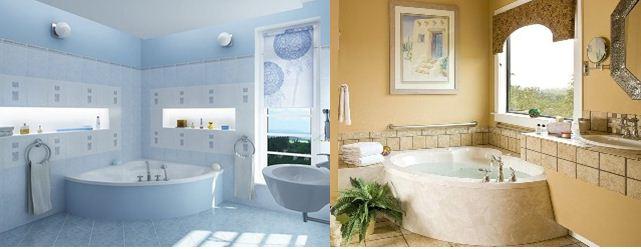 Угловая ванная с максимально округленными углами гармонично украсит интерьер