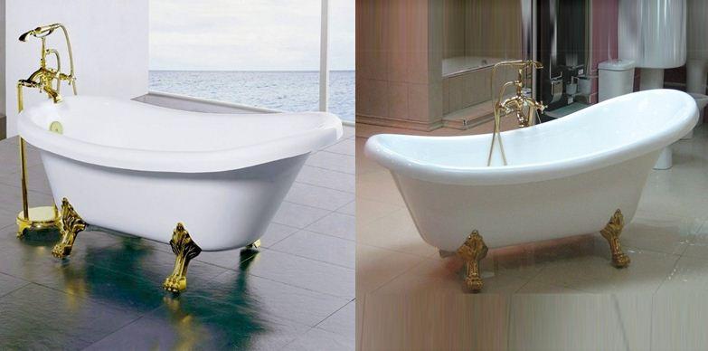 Акриловую ванну также можно установить на изящные ножки
