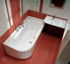 Пример установки ванным в маленькой ванной комнате