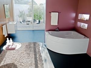 Вариант установки угловой ванны