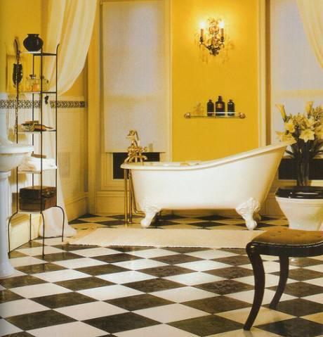 Классика стиля – черно-белые керамические плиты с кладкой в шахматном порядке