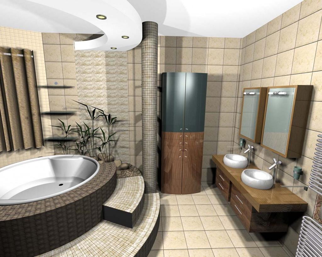 Ванна в стиле Арт-деко с эффектным подиумом