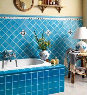 ванная комната голубая