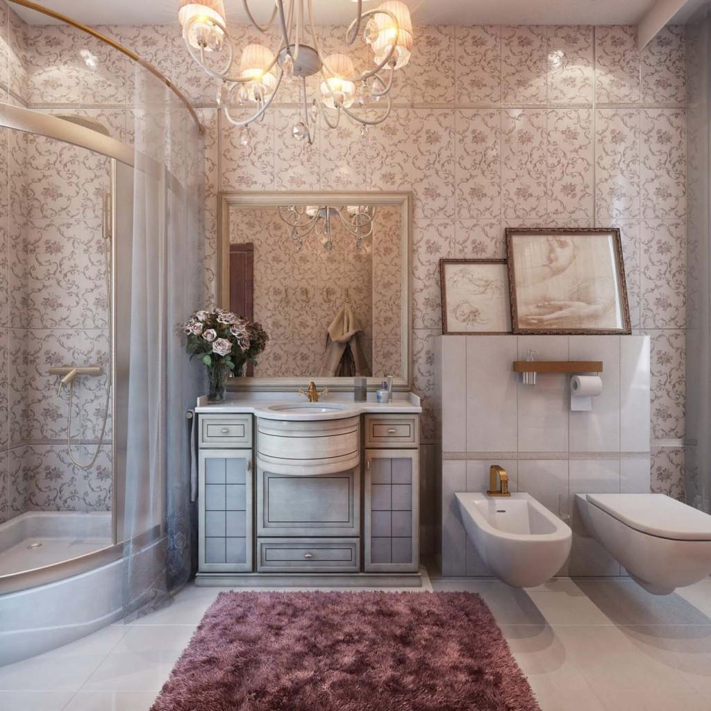 Драпировка стен в ванной