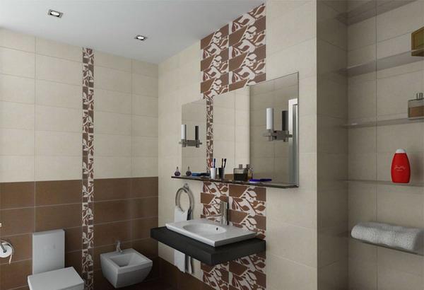 Пример ванной с визуально поднятым потолком