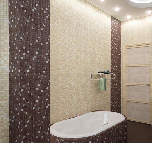 Пример ванной комнаты с коричневой ванной