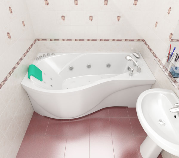 Ванна неправильной формы, размер – 160х95 см