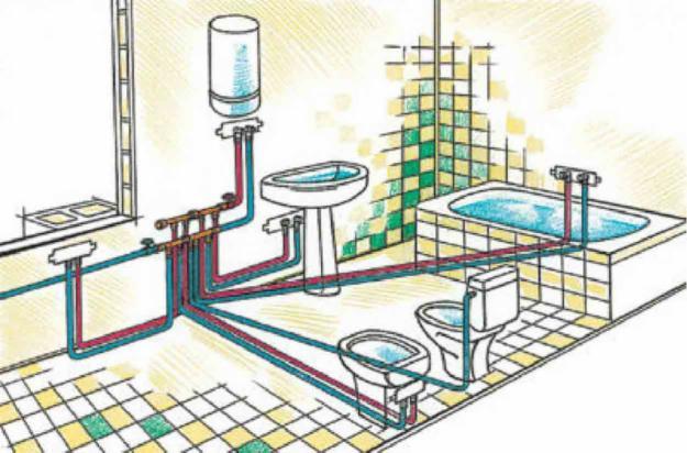 Схема разводки труб водоснабжения