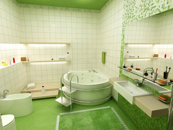Классика жанра - зеленая ванная с белым кафелем