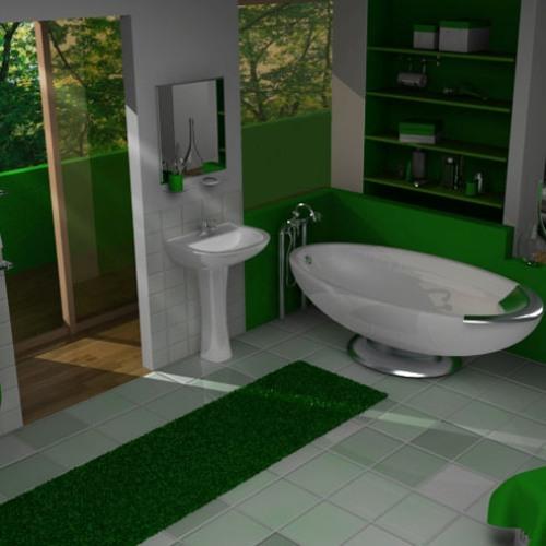 Зеленый коврик в дизайне ванной