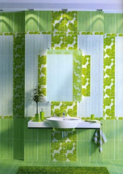 Кафельная плитка удачного сочетания зеленых оттенков