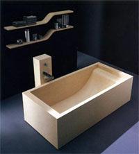 Прямоугольная ванна из дерева