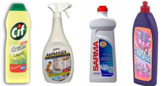 популярные средства для очистки акриловых ванн