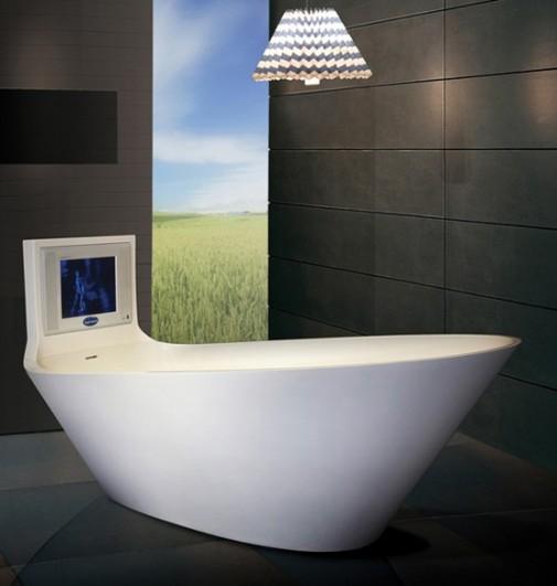 Ванна в стиле хай тек выглядит потрясающе, ассиметричная ее форма подчеркивает элегантность комнаты
